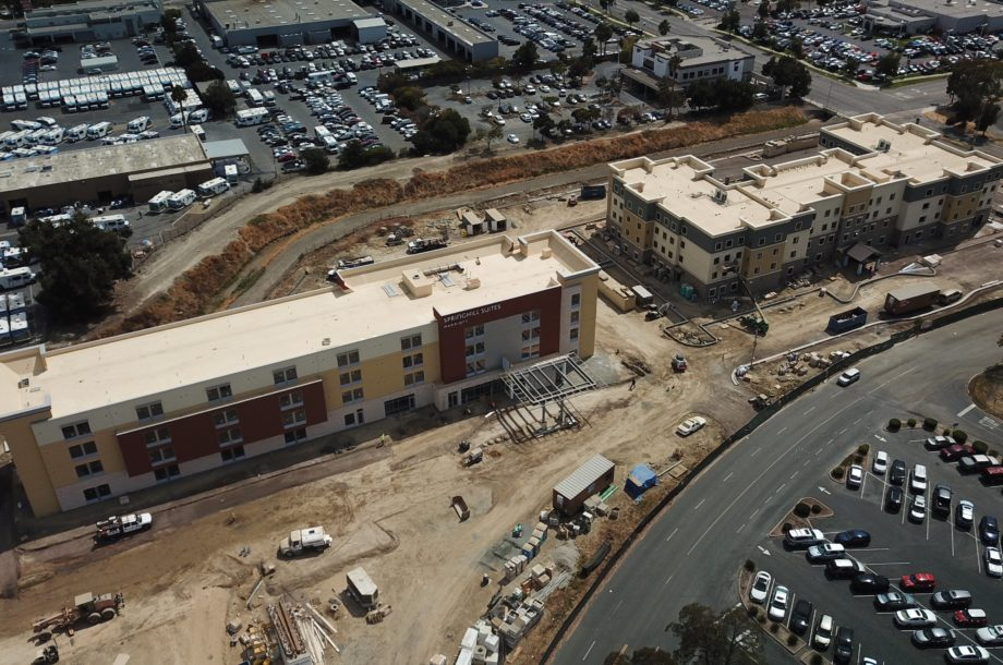 Drone Photos of IHG Staybridge Suites and Marriott Springhill Suites in Newark, Ca.