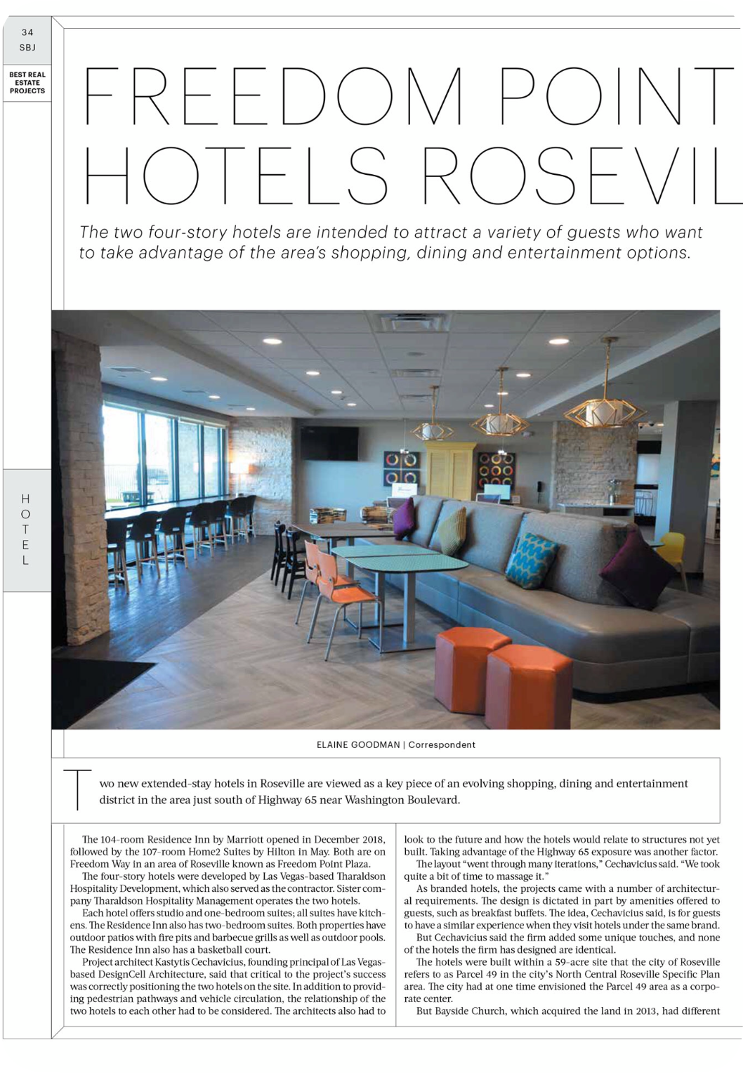 Sacramento Business Journal - Roseville Hotel Development - DesignCell Architecture